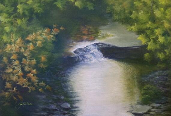 Original Pastel Painting - FALLING WATER At The Creek