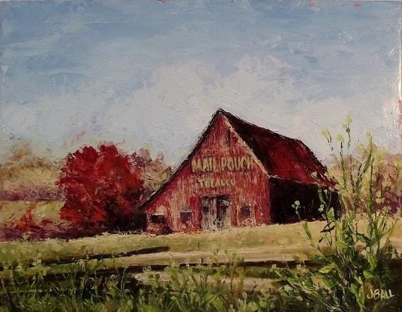 AMERICAN TREASURE Original Barn Palette Knife Oil Painting Framed