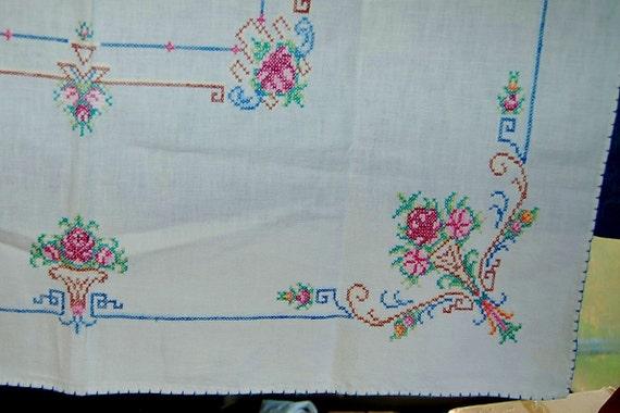 Vintage Tablecloth / Cross Stitch / Flowers / Basket / Beautiful /