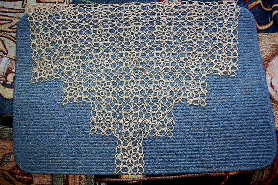 Vintage / Large / Tatted / Doily / Tatting / Ecru / Sewing / linens