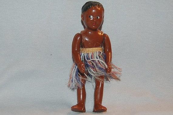 Vintage Black Doll 1950 googly eyes hawaiian grass skirt