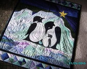 Penguin Family quilted fiber art wall hanging.
