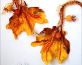Leaves Brooch  Felted   Art  Felted Scarf  Autumn Color  Lightweight Fashion Extra  hand dyed and painted