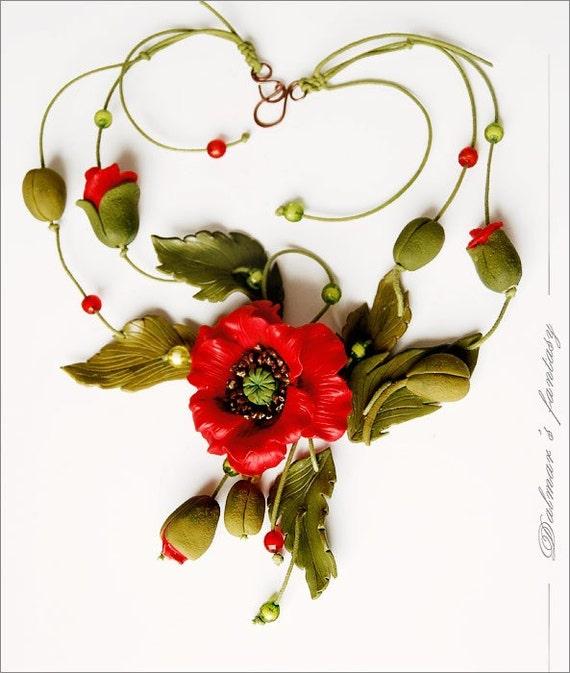 Polymer clay necklace - Poppy