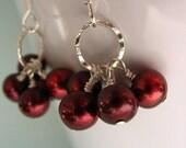 Cherries Jubilee - Freshwater Cherry Pearls and Sterling Silver Earrings