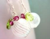 White Berry - Blown Glass, Garnet and Peridot Earrings