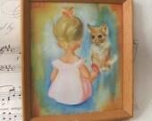 Vintage Soulet Print Picture - Girl & Cat in Wooden Frame 1950s
