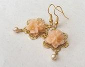 Apricot Earrings, Pearl Drop Earrings, Gold Earrings, Peach Earrings, Flower Earrings