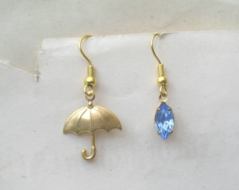 Raindrop Earrings, Umbrella Earrings, April Showers, Blue Earrings, Mismatched Earrings, Choose Gold Plated or Gold Filled