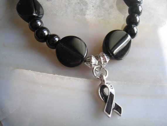 """Melanoma Support bracelet (151)  7"""", sleep apnea,  ribbon charm, awareness, cancer awareness collection, unique visions by jen"""