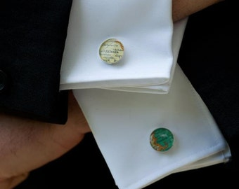 custom vintage map cufflinks with gift box by Tomato-Made