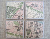 Vintage-Inspired Paris Map Coasters-Set of 4