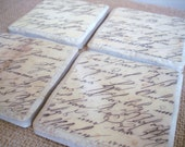 Vintage Script Coasters-A Unique Holiday or Birthday Gift-Set of 4 by burlap and blue
