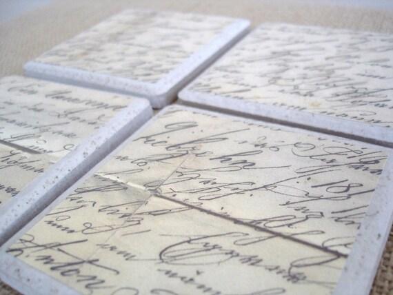 Vintage Script Coasters-Set of 4 by burlap and blue