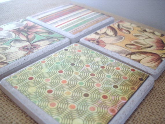 Shabby Chic Florals and Dots-A Vintage Inspired Coaster Set by burlap and blue