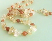 Yellow Citrine Gem Stone Necklace & Earrings