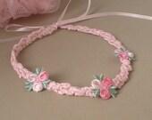 Pink Knit Ribbon Necklace (Child)