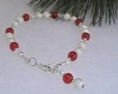 Silver Red & Crystal Bracelet