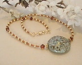 Sage Green & Amber Tone Kazuri Necklace