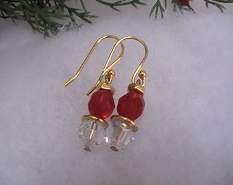 Red and Clear Crystal Earrings