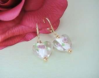 Murano Clear Glass with White & Pink Heart Earrings