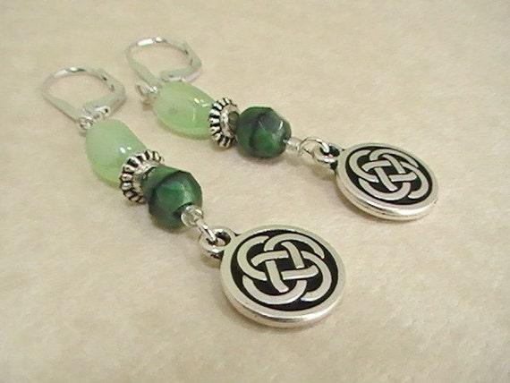 Silver & Green Celtic Earrings
