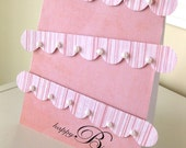 Happy Birthday Cake Card in pink and pearls