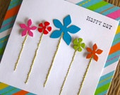 Happy day hand-embroidered spring colorful flowers card