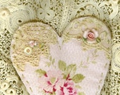 Shabby Pink Rose Barkcloth Vintage Lace Collage Heart Ornament