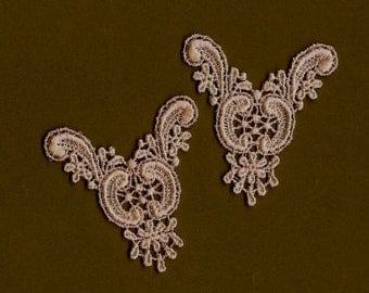 Hand Dyed Venise Lace  Appliques Edwardian Accents Set of 2 Vintage Blush Pink