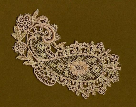 Hand Dyed Venise Lace Paisley Applique Distressed  Vintage Creme Blush