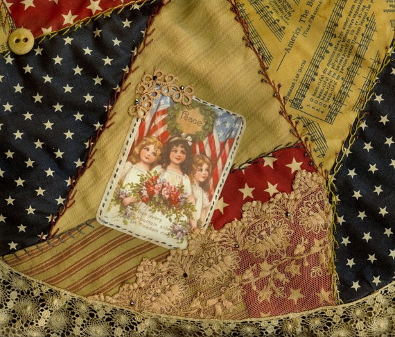 Th of july patriotic christmas crazy quilt tree skirt vintage