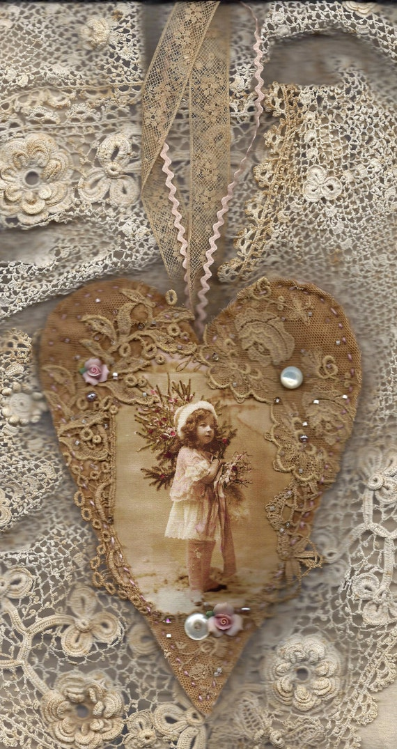 Edwardian Winter Girl in Pink  Vintage Lace Heart Collage Ornament Lg.
