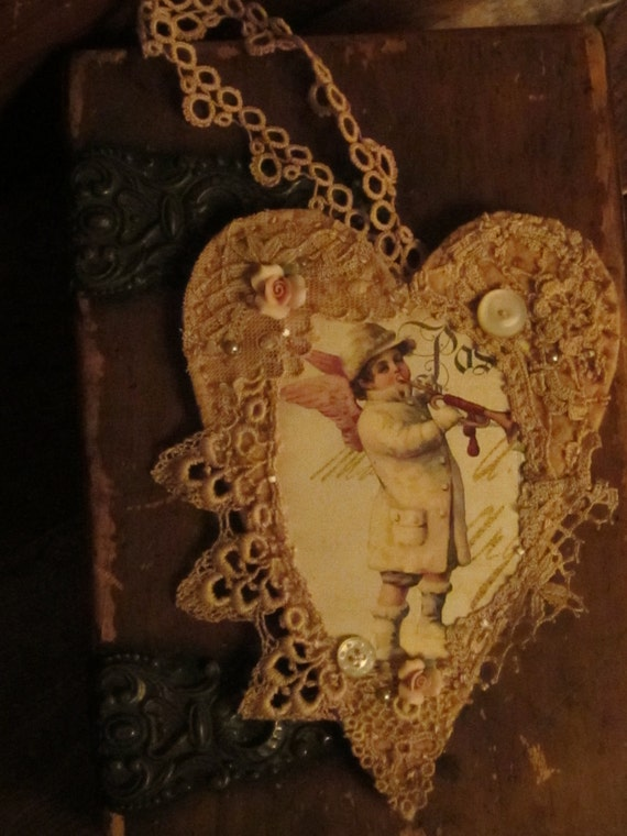 Victorian Snow Winter Angel Boy  Vintage Lace Collage Heart Ornament Small