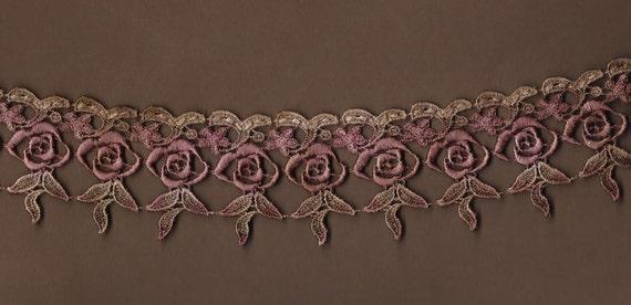Hand Dyed Venise Lace Dainty Drippy Roses Edwardian Merlot Mocha