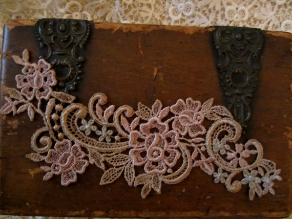 Hand Dyed Venise Lace Rose Forget Me Nots  Vintage Patina