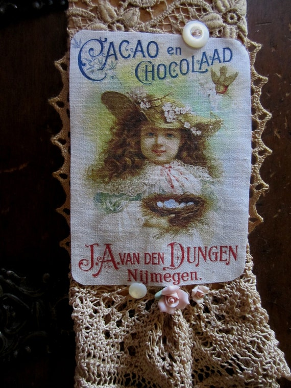 Vintage Lace Collage Victorian Trade Card Ad Cacao Chocolate Girl Embellished Tag