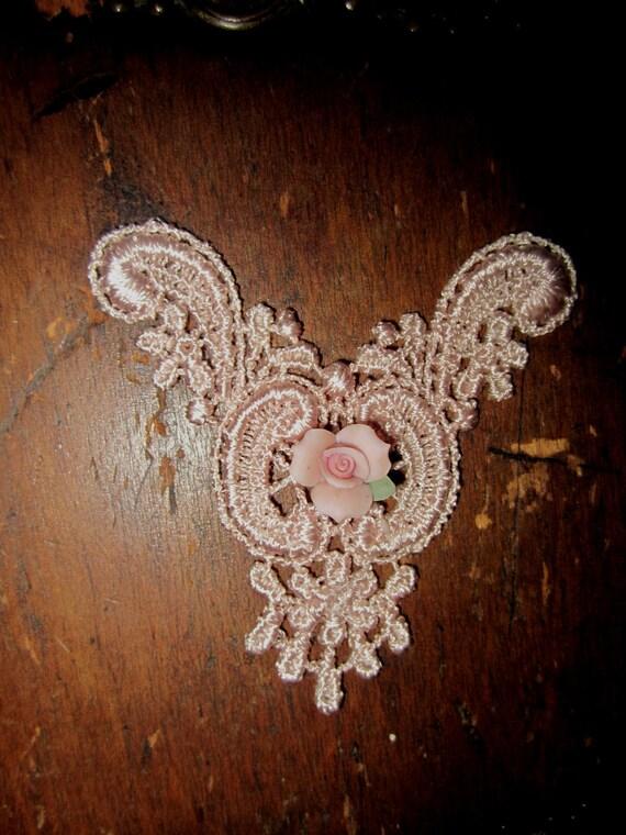 Hand Dyed Venise Lace  Applique Edwardian Accent Sweet Ceramic Rose Vintage Blush Pink