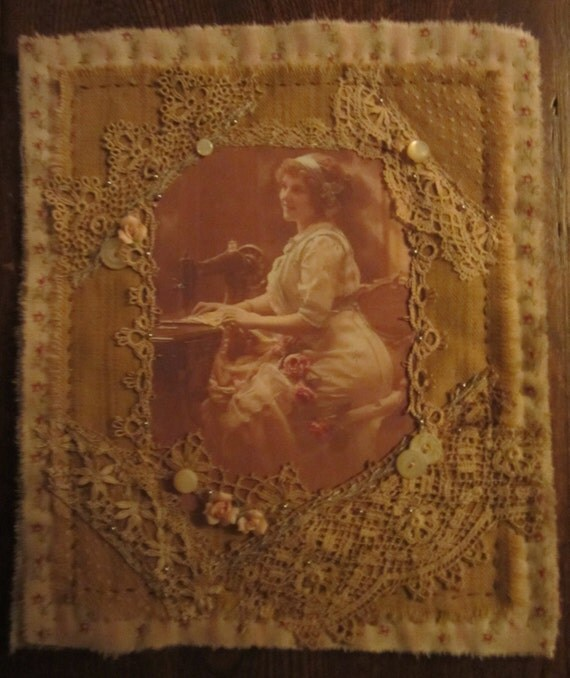 Vintage Lace Rosebud Ticking Mini Quilt Collage French Seamstress Lady Sewing