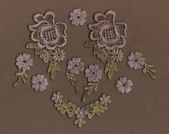 Hand Dyed Venise Lace  Appliques Tiny Floral Vintage Lavender Bliss