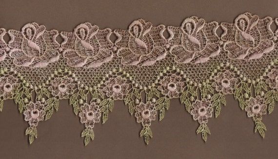 Hand Dyed Venise Lace Victoriana Shabby Rosewater Blush