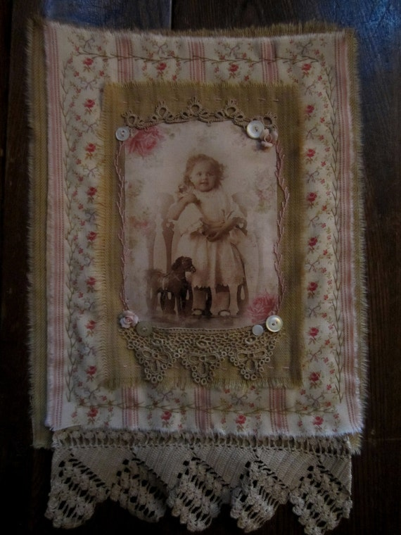 Vintage Lace Floral Ticking Mini Quilt Collage Sweet Girl with her Doll and Toy Horse
