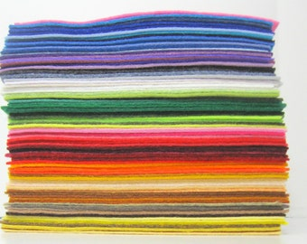 Wool Felt 50 sheets - 9x12 inch - Choose Your Own  Colors - Wool Blend Felt