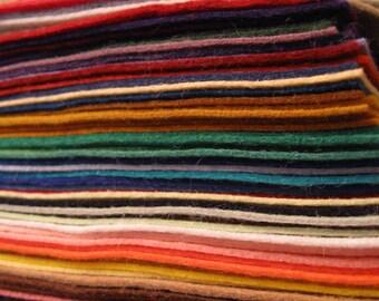 "Wool Blend Felt 123 sheets of  6x6"" inch sample pack Wool Blend Felt"