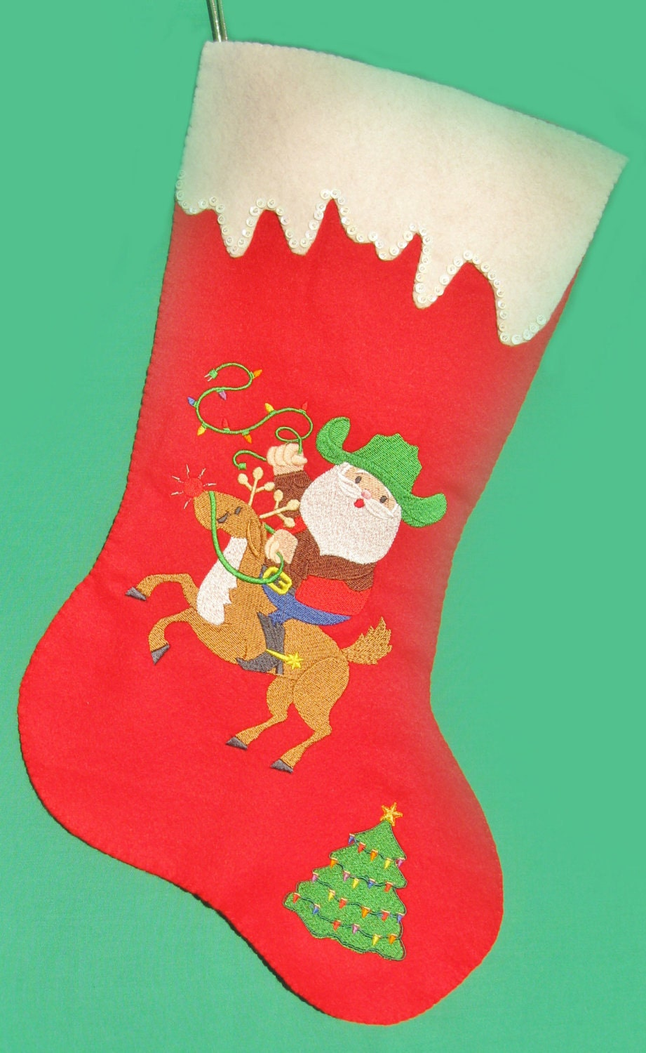 Cowboy Santa Felt Christmas Stocking On Sale