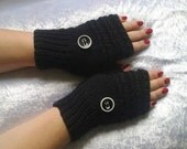 Black fingerless gloves with button  Free  shipping