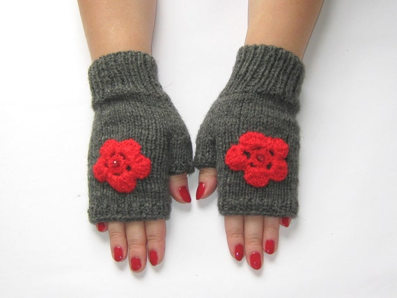 Fingerless gloves with red flower   Free shipping