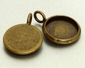 100pcs 12mm BRASS Base Trays antique bronze blank pendant