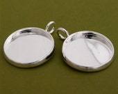30pcs 16mm BRASS Base Trays silver tone pewter blank pendant