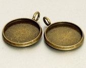 20pcs 16mm BRASS Base Trays antique bronze blank pendant